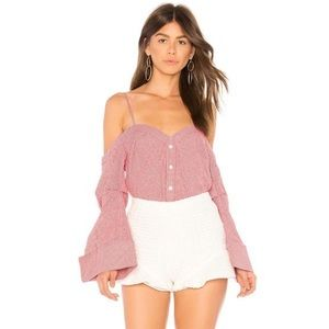 Red & White Bell Sleeve Top